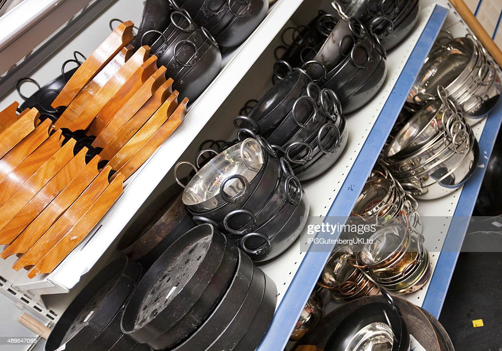 Kitchen Utensils On Display In Store : Stock Photo