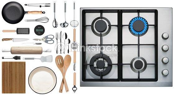Kitchen Top View : Kitchen utensils on white background top view stock photo