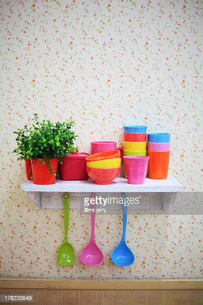 Kitchen wares on shelf
