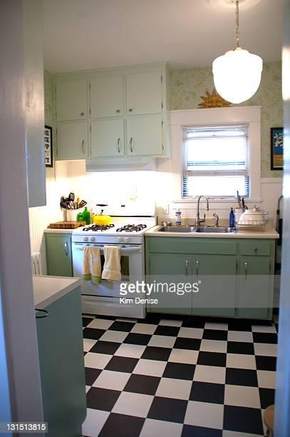 Kitchen with checkered floor