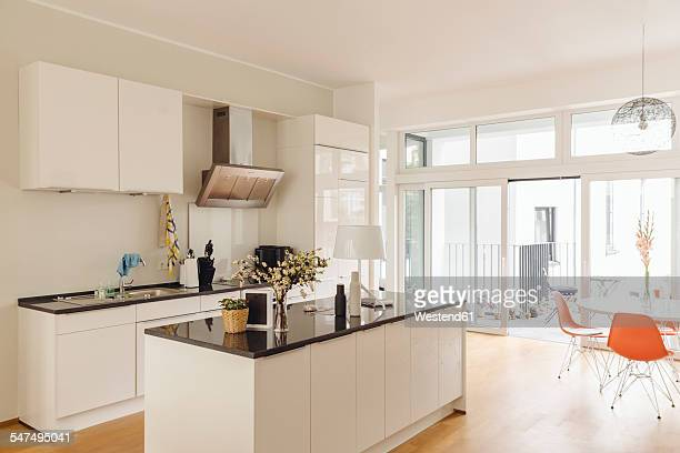 Kitchen with counter island and table in modern building