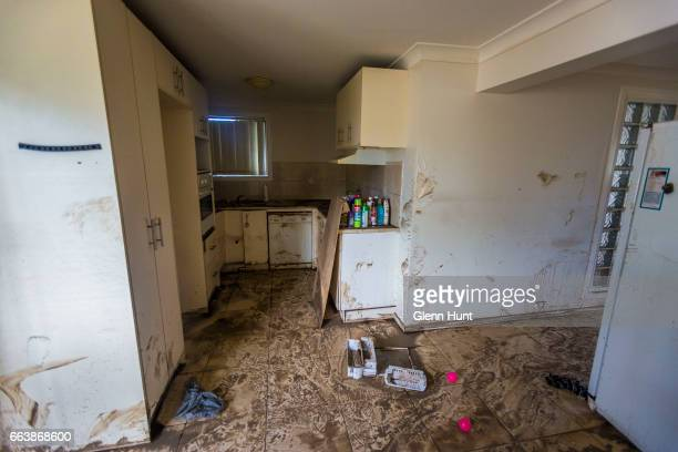 Kitchen with flood damage April 3 2017 in Eagleby Australia Heavy rain caused flash flooding across south east Queensland and Northern New South...