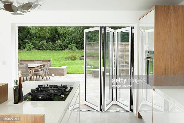 Kitchen with open patio doors