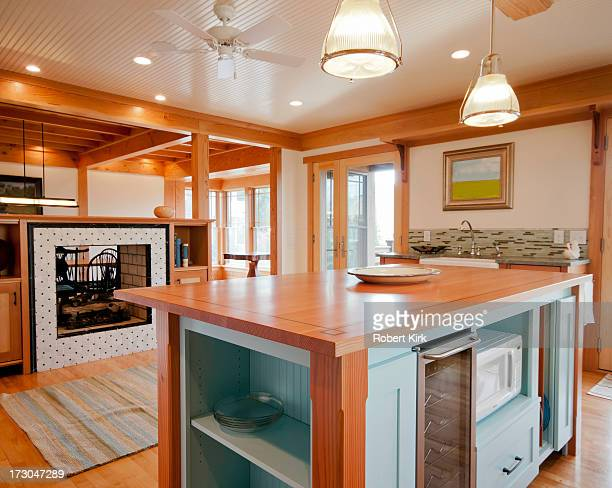 Kitchen with Wood Surfaced Island