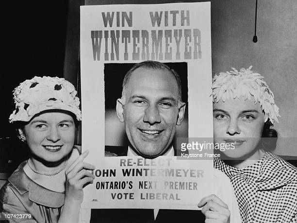 Kitchener Electoral Campaign Of The Liberal Leader John Wintermeyer In Onatrio In Canada On May 1959