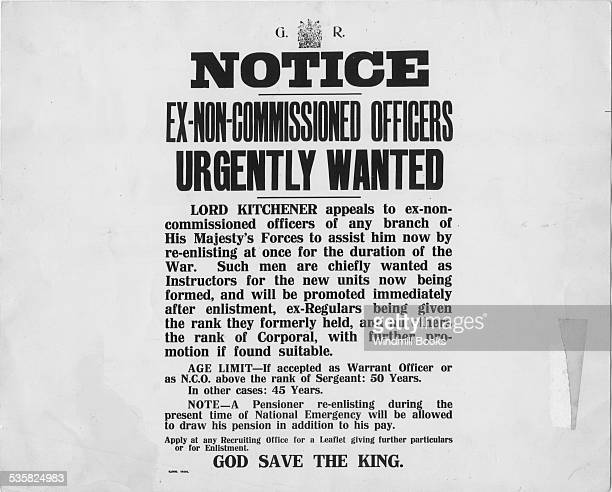 Kitchener's Appeal for Ex Non commisioned Officers Oct 1914