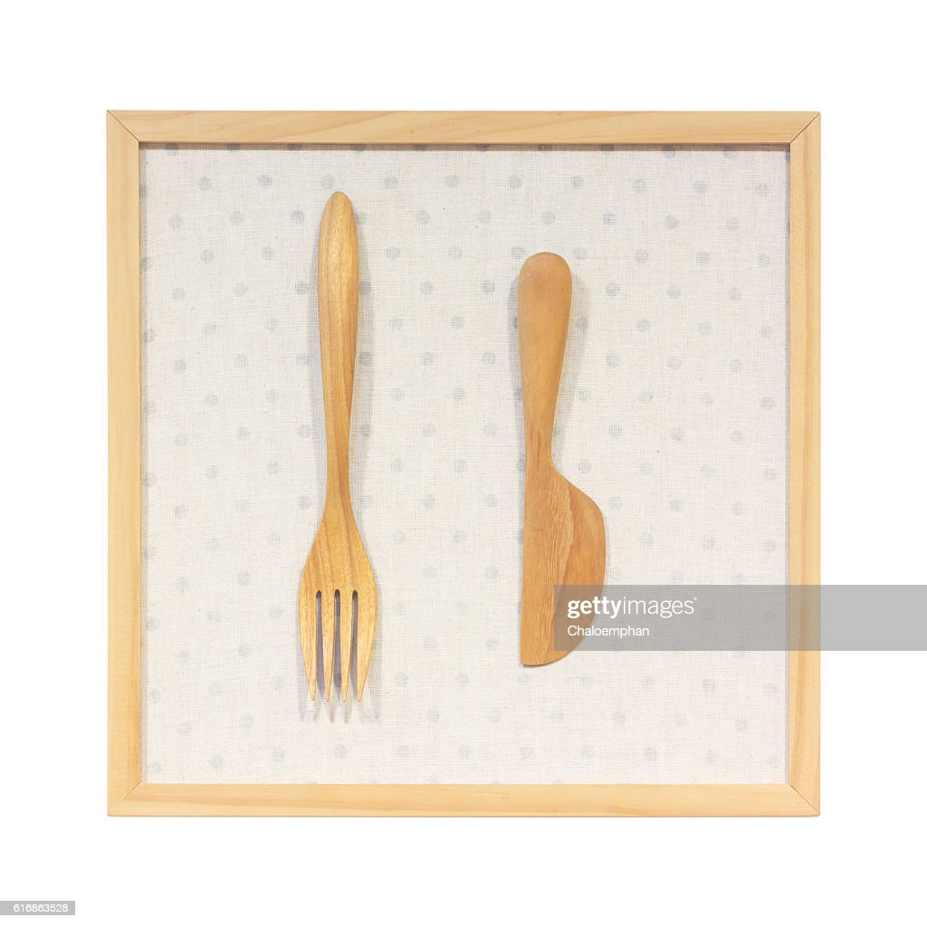 Kitchenware made from wooden against wood frame : Stock Photo