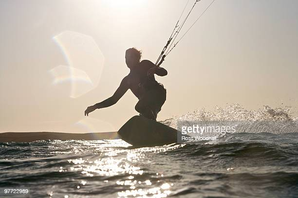 Kite boarder in action.