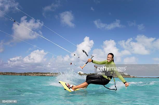 Kite Nichtbeförderung Frau in der Karibik.