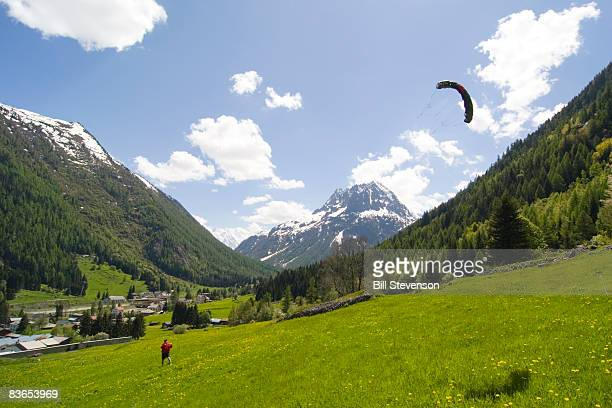 Kite flying near Chamonix France.