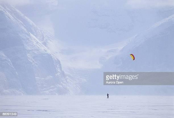 kite skiing on Baffin Island,Canada