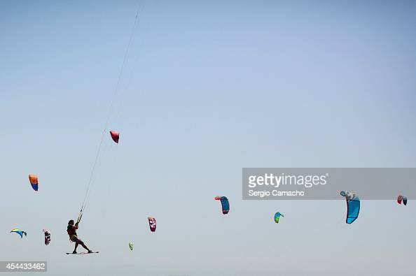 A kite sufer participates in the Guinness World Record attempt for the most kitesurfers sailing together at one time on August 31 2014 in Tarifa...