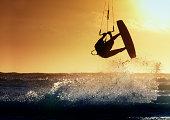 Kite surfer in action