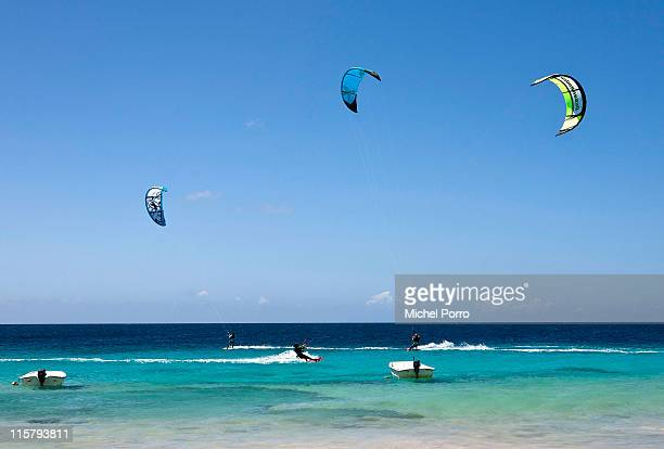 Kite surfers enjoy the waters on February 3 2011 on Bonaire Netherlands Antilles Bonaire with its shallow waters is an ideal place to learn...