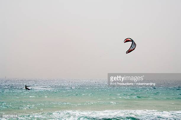 Kite surfing at Santa Maria on the island of Sal (Salt), Cape Verde Islands, Atlantic Ocean, Africa