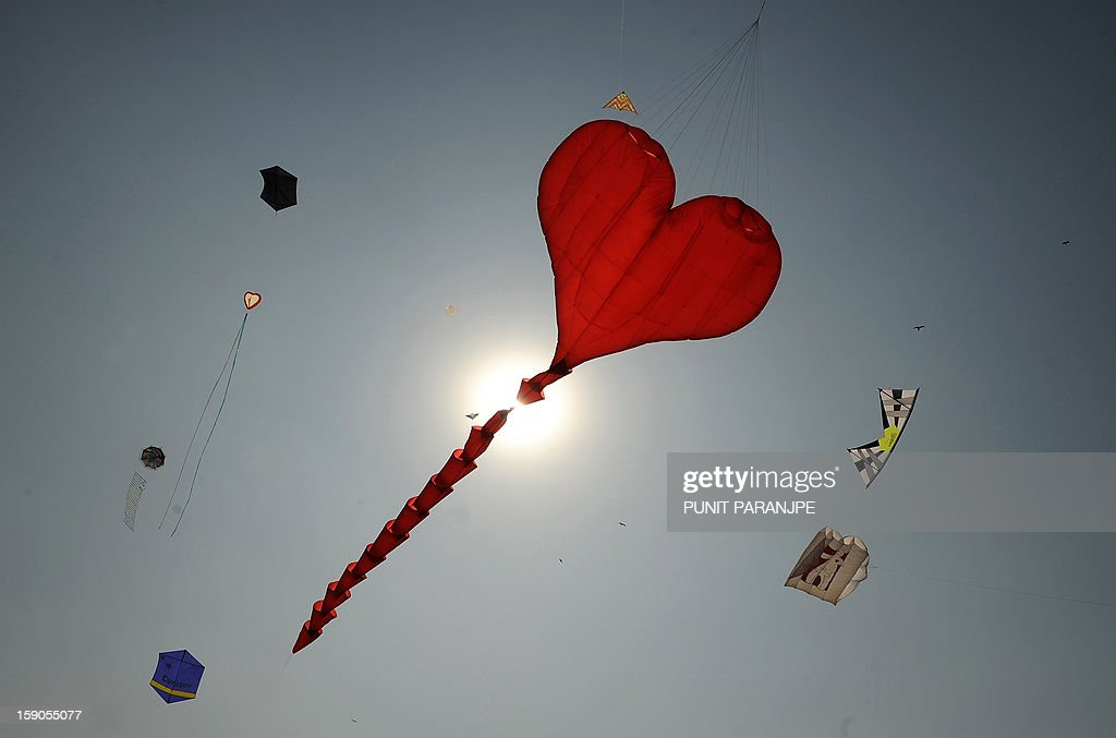 Kites fly during the International Kite festival on the lawns of Priyadarshani park in Mumbai on January 7, 2013. Kite enthusiasts from different countries are participating in the day-long festival.