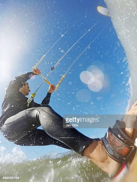 Kitesurfaction in North sea of St. Peter-Ording, Deutschland, GoPro-Bild