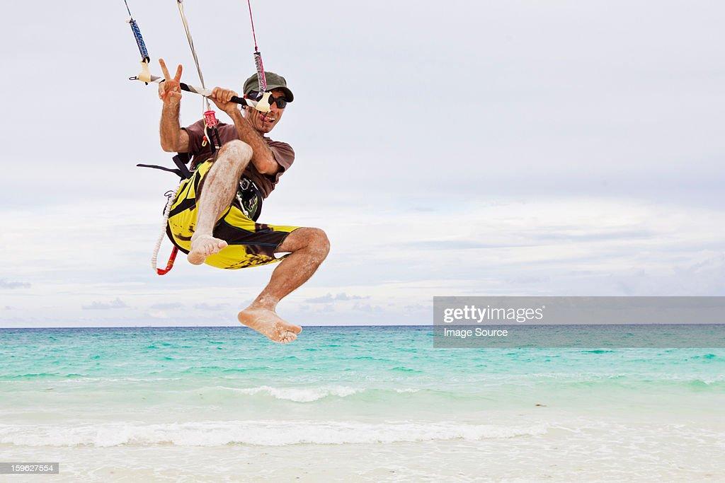 Kitesurfer in the air : Stock Photo