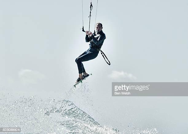 Kitesurfer jumping.