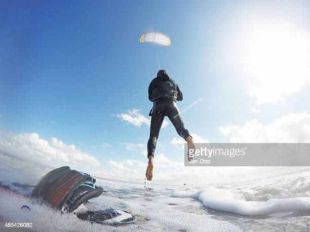 Kitesurfer launching in St.Peter-Ording, Germany, GoPro image