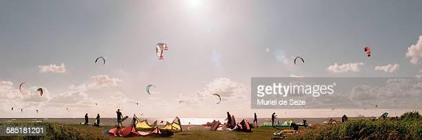 Kite-surfer on beach