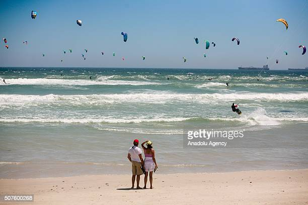 Kitesurfers kitesurf at Dolphin Beach during Virgin Kitesurfing Armada South Africa Festival in Cape Town South Africa on January 30 2016 A total of...