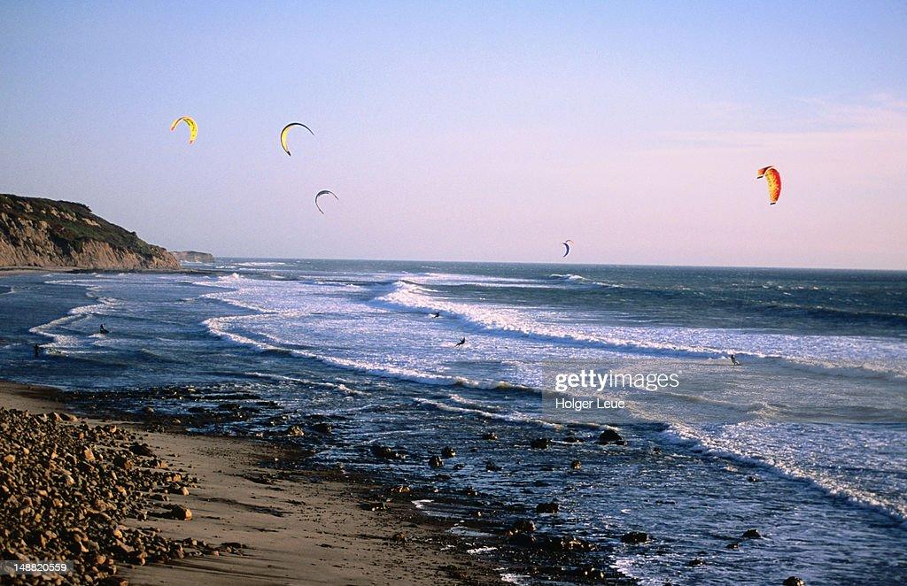 Kitesurfers, Waddell Creek beach, Davenport. : Stock Photo