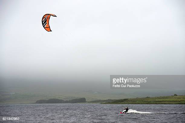 Kitesurfing at Keel Lough of Achill Island in County Mayo of Ireland