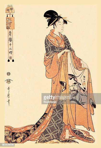 Kitigawa Utamaro was a Japanese print maker who specialized in the study of women and of insects in nature Woodblock prints were printed on rice...
