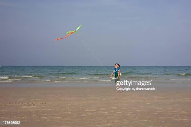 Kiting on the beach