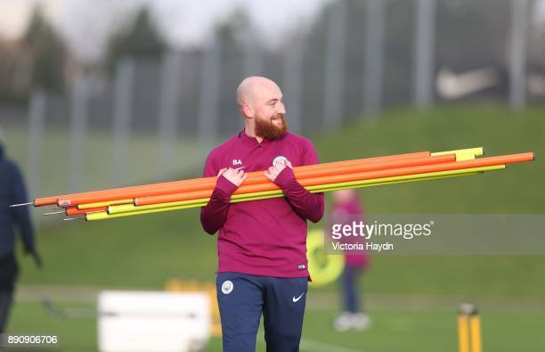 Kitman Brandon Ashton reacts during training at Manchester City Football Academy on December 12 2017 in Manchester England