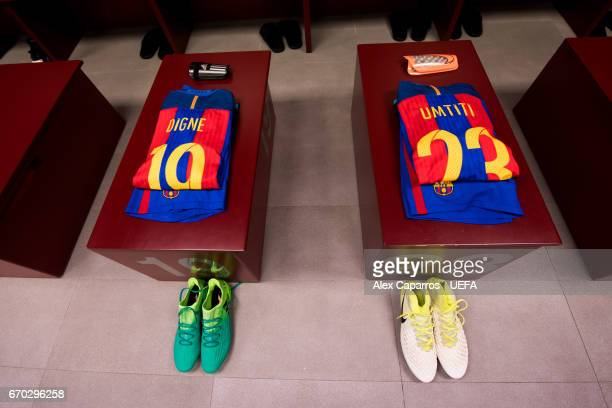 Kits of Lucas Digne and Samuel Umtiti of FC Barcelona are seen in the dressing room ahead of the UEFA Champions League Quarter Final second leg match...