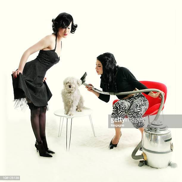Kitsch series : women drying a dog