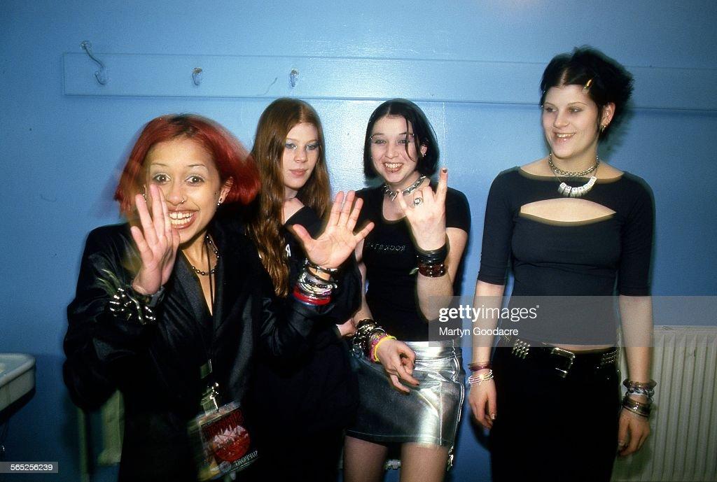 Kittie, group portrait, United Kingdom, c 2000. L-R Fallon Bowman, Mercedes Lander, Talena Atfield, Morgan Lander.
