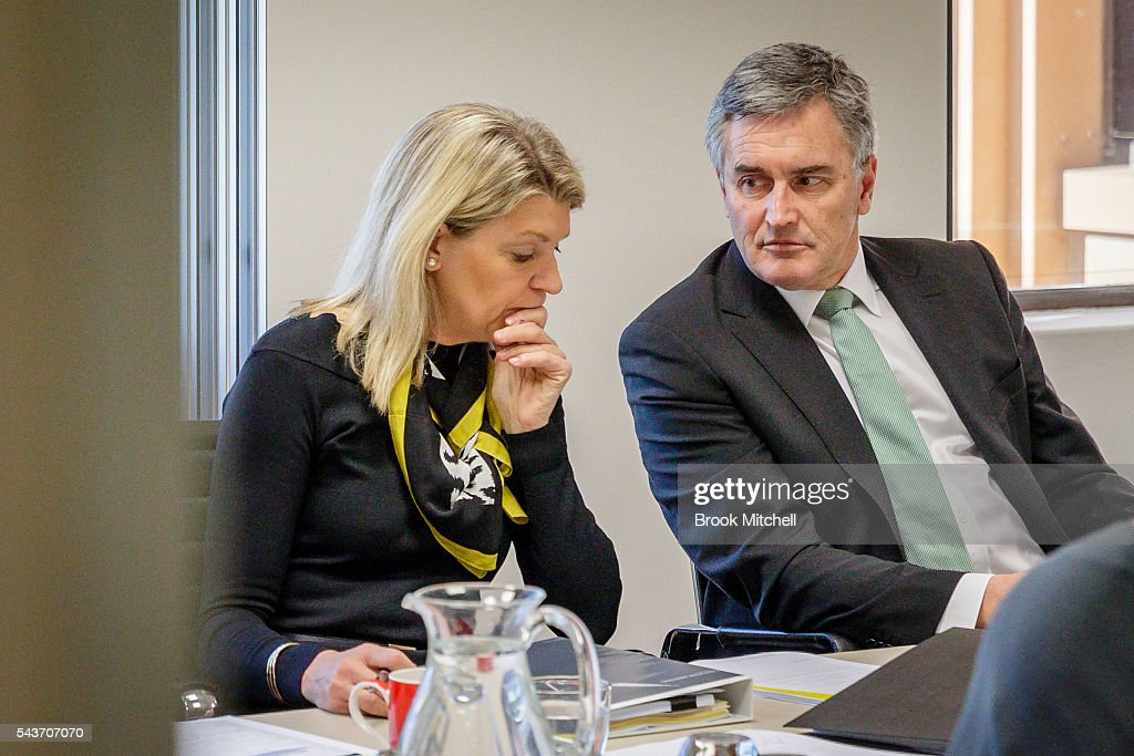 Kitty Chiller and Ian Chesterman attends the AOC Executive Board Meeting at Museum of Contemporary Art on June 30, 2016 in Sydney, Australia. Australian target shooter Michael Diamond fronts the AOC board in bid for Rio Olympic selection.