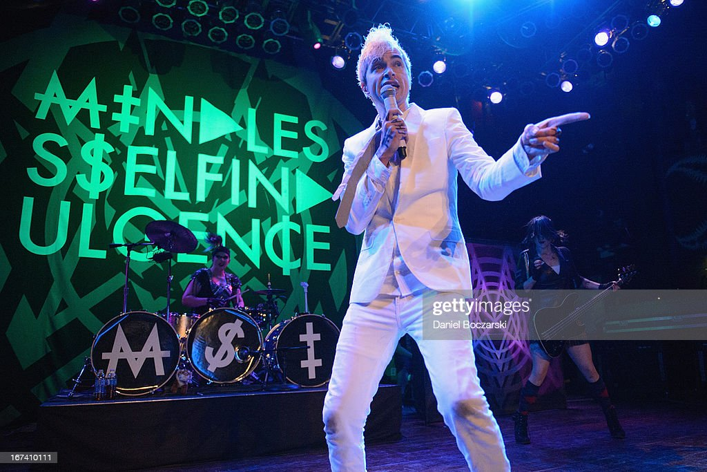 Kitty, Jimmy Urine and Lyn-Z of Mindless Self Indulgence perform on stage at House Of Blues Chicago on April 24, 2013 in Chicago, Illinois.