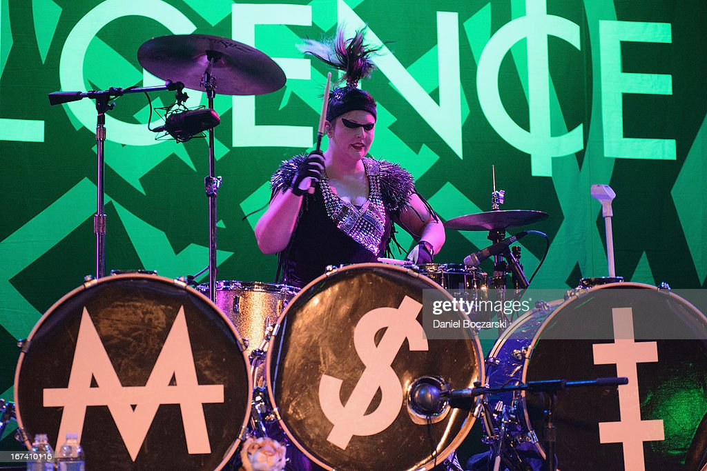 Kitty of Mindless Self Indulgence performs on stage at House Of Blues Chicago on April 24, 2013 in Chicago, Illinois.