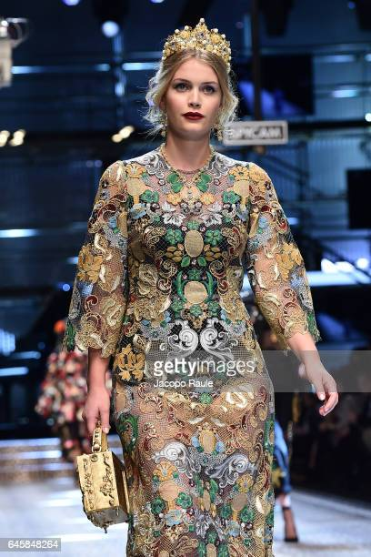 Kitty Spencer walks the runway at the Dolce Gabbana show during Milan Fashion Week Fall/Winter 2017/18 on February 26 2017 in Milan Italy