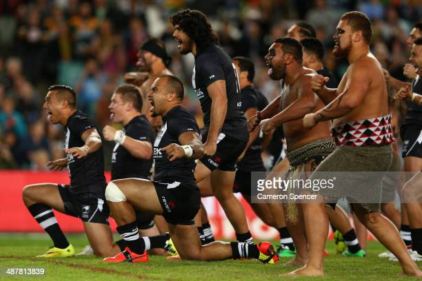 Kiwi players perform the Haka during the ANZAC Test match between the Australian Kangaroos and the New Zealand Kiwis at Allianz Stadium on May 2 2014...