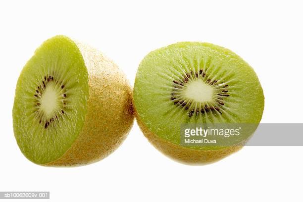 Kiwi slices against white background, close-up