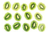 Kiwi slices (kiwifruit). Isolated on white background. Directly Above.