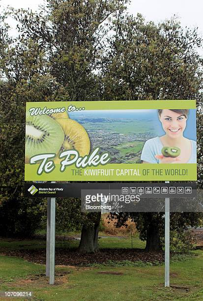 Kiwifruit is featured in a welcoming sign for Te Puke New Zealand on Monday Nov 23 2010 A bacterial vine disease was found in an orchard last week in...