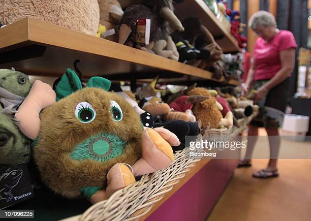A kiwifruit stuffed toy is displayed for sale in the gift shop of the Kiwi360 theme park in Te Puke New Zealand on Monday Nov 23 2010 A bacterial...