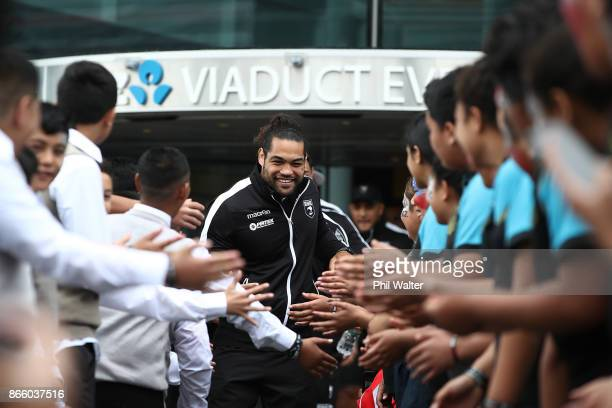 Kiwi's captain Adam Blair arrives for their Rugby League World Cup 2017 Team Welcome at Wynard Quarter on October 25 2017 in Auckland New Zealand