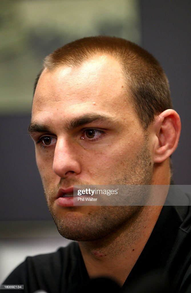 Kiwis captain Simon Mannering speaks to the media during the New Zealand Kiwis Rugby League World Cup Squad Announcement at Rugby League House on October 8, 2013 in Auckland, New Zealand.