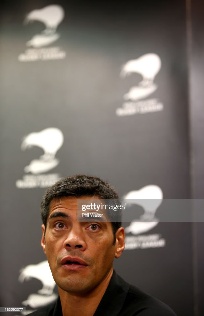 Kiwis coach <a gi-track='captionPersonalityLinkClicked' href=/galleries/search?phrase=Stephen+Kearney&family=editorial&specificpeople=171905 ng-click='$event.stopPropagation()'>Stephen Kearney</a> speaks to the media during the New Zealand Kiwis Rugby League World Cup Squad Announcement at Rugby League House on October 8, 2013 in Auckland, New Zealand.