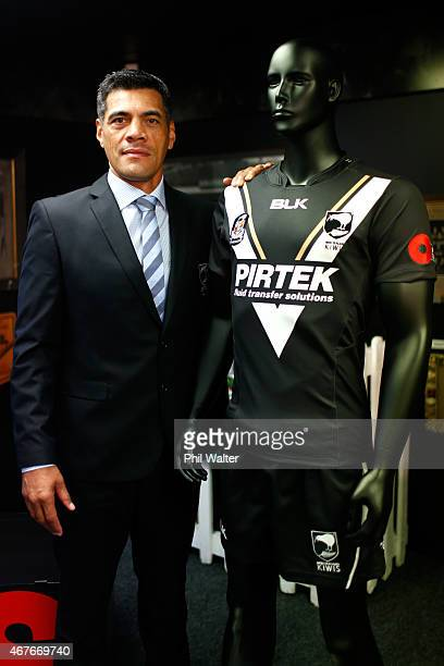 Kiwis Rugby League coach Stephen Kearney stands alongside the Kiwis Anzac Test jersey during a New Zealand Kiwis press conference at NZRL House on...