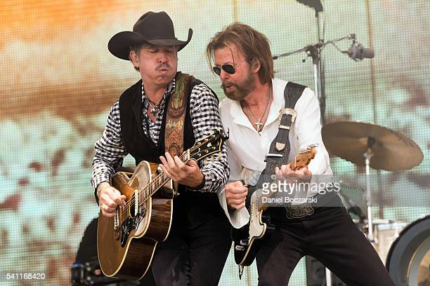 Kix Brooks and Ronnie Dunn of Brooks Dunn perform during Windy City LakeShake 2016 at FirstMerit Bank Pavilion at Northerly Island on June 18 2016 in...