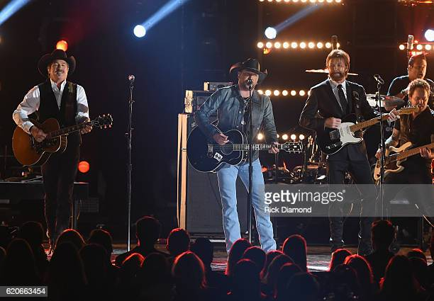 Kix Brooks Jason Aldean and Ronnie Dunn perform onstage at the 50th annual CMA Awards at the Bridgestone Arena on November 2 2016 in Nashville...