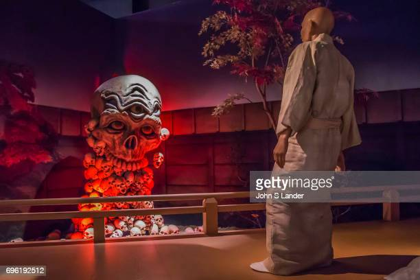 Kiyomori meets the harbingers of doom composed of skulls Heike Monogatari Wax Museum The rise and fall of the Heike clan is reproduced in a massive...
